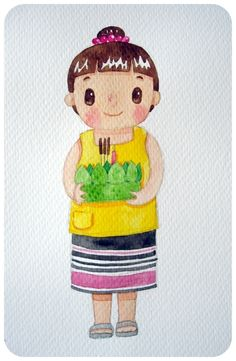 Loi Krathong by Pungpung Juntarawong, via Behance Painting For Kids, Children Painting, Thai Art, Childhood Days, Tweety, Hello Kitty, Behance, Culture, Watercolor