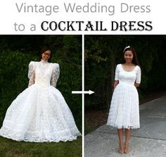 """This is an awesome idea on what to do if you wanted to """"in some way"""" wear your Mum's wedding gown! Too cute! Vintage wedding dress refashion"""