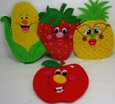 Handmade Hand Puppets Felt Tomato Strawberry Corn Pineapple Fruits & Vegetables #Unknown
