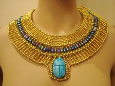 Ancient Egypt Jewelry | Unique Egyptian Hand Made Gold & vivid Beaded Queen Cleopatra Necklace ...