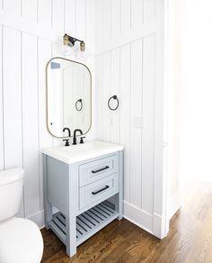 Shiplap Bathroom, Downstairs Bathroom, Bathroom Renos, Small Bathroom, Bathrooms, Home Design, Design Ideas, Installing Shiplap, Powder Room Decor