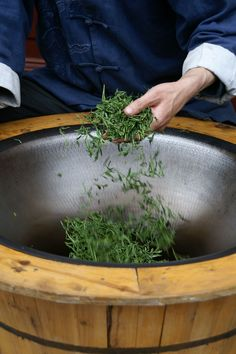 Drying tea leaves in China