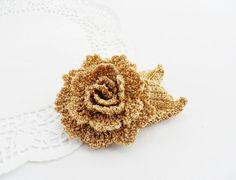 Crochet Brooch  Rose Brooch  Golden  Brooch  by CraftsbySigita
