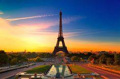 Al atardecer, bella París, la ciudad, la torre eiffel, colorida wallpaper