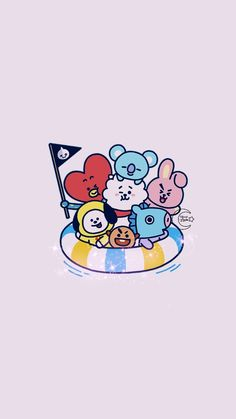 Float Pool with Bts Backgrounds, Cute Wallpaper Backgrounds, Aesthetic Iphone Wallpaper, Bts Wallpaper, Cute Wallpapers, Kawaii Wallpaper, Cartoon Wallpaper, Bts Drawings, Line Friends