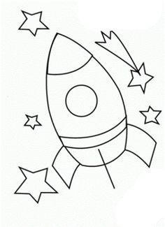 Ganz einfache Rakete Ausmalbild Dekoideen Weltraum