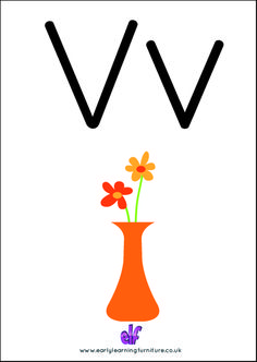 V is for Vase! A Vase is used for Flowers!  The #learning never stops with ELF. Download all of our #teaching #resources, we have lots more to follow.