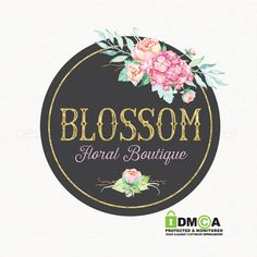 florist logo design chalkboard logo by stylemesweetdesign on Etsy