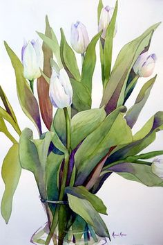 """""""White Tulip Explosion"""" - by Marni Maree Watercolor Sketchbook, Watercolor Projects, Watercolor And Ink, Watercolour Painting, Watercolor Flowers, Watercolors, Plant Illustration, Watercolor Illustration, Tulip Painting"""