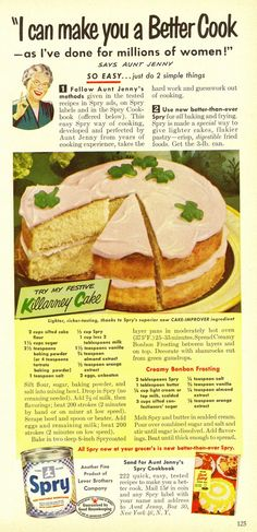 Killarney Cake with gumdrop shamrocks - Spry shortening ad from Good Housekeeping, March 1950