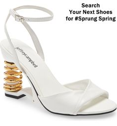 Put some spring into your step—no, really—with this sculptural wedge sandal featuring a coil heel, wraparound ankle strap and twisted vamp. Studded Sandals, Embellished Sandals, Ankle Strap Sandals, Wedge Sandals, Open Toe Booties, Lace Up Booties, Next Shoes, Women's Shoes, Leather Ankle Boots