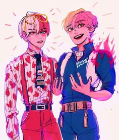 bts and boku no hero academia My Hero Academia Shouto, Hero Academia Characters, Film Animation Japonais, Arte Do Kawaii, Film D'animation, Poses References, Fanarts Anime, Anime Crossover, Bts Drawings