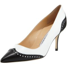 Manolo Blahnik Ancor Two-Tone Spectator Pump, Black/White (€690) ❤ liked on Polyvore featuring shoes, pumps, pointed toe high heel pumps, wing tip shoes, wingtip shoes, black and white wing tip shoes and high heeled footwear