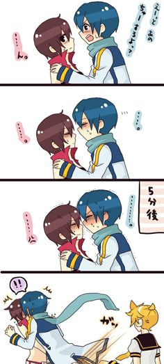 Kaito: Ok, Kaito, you can do this Meiko: Get it on with... Kaito: (leans in closer, even closer)  Len: (kicks)  In Kaito's head: (Ok...)