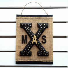 Christmas sign Burlap X-mas sign Xmas wall art by HavenOfHarmony Gold Letters, Christmas Signs, Burlap, My Etsy Shop, Xmas, Lettering, Wall Art, Unique Jewelry, Handmade Gifts