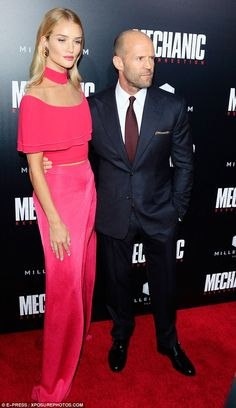 Happily ever after: Last week, the gorgeous star attended the Hollywood premiere of his film Mechanic: Resurrection, dressed in a Balmain top and trousers with Stuart Weitzman heels