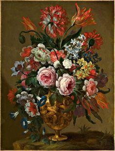 Stock Photo - Bartolomeo Bimbi - Flowers in a decorated vase 17th Century Art, Large Canvas, Art Market, Flower Vases, Still Life, Fine Art, Stock Photos, Drawings, Modern Vases