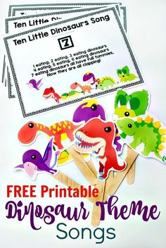 Gross Motor 10 Little Dinosaurs Song with FREE Printable -Get the kiddies moving with this fun circle time song for preschoolers. Perfect for any dinosaur theme. Also a fun counting song. Includes a free printable. Dinosaur Classroom, Dinosaur Theme Preschool, Dinosaur Printables, Preschool Songs, Free Preschool, Preschool Themes, Preschool Printables, Dinosaur Dinosaur, Dinosaur Crafts For Preschoolers