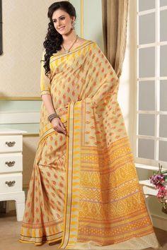 Lemon-chiffon Yellow Cotton Printed Casual and Party Saree Sku Code:68-3585SA973022 $ 27.00