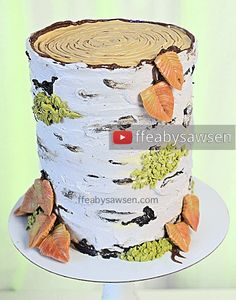 Learn how to make a birch tree stump cake from scratch with this FREE full length video tutorial! Watch how to make leaves, moss, twigs, bark & more!