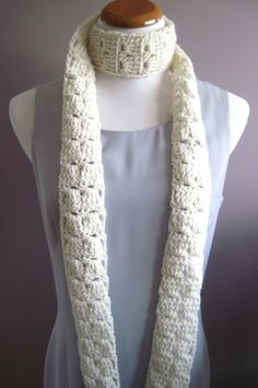 Crochet Skinny Scarf - Extra Long in Off White, via Etsy