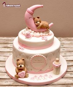 Teddy on the moon Christening cake for a girl with sweet teddy bears Naike…