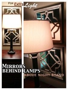 I love the idea of mirrors behind lamps on night stands for bedroom