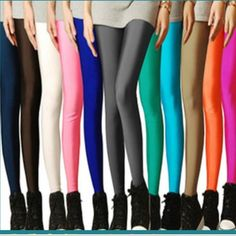 Sexy Solid Candy Neon Women's Leggings