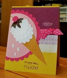 """Punch art ice cream cone. Uses Scallop circle punch, 3/4"""" circle punch, Sizzix Texturz #4, Scallop Circle die."""
