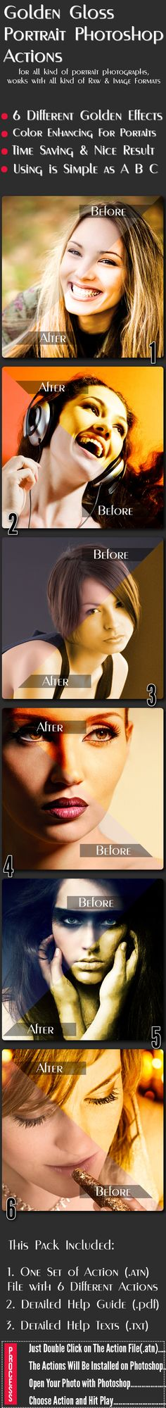 Golden Glossy Portrait Photoshop Actions — Photoshop ATN #glossy #pure gold • Available here → https://graphicriver.net/item/golden-glossy-portrait-photoshop-actions/10064616?ref=pxcr