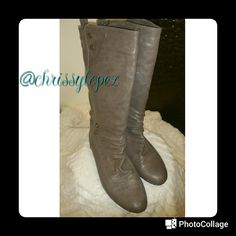 Gray boots Gray boots with bronze colored buttons. These are in great condition perfect length for all seasons ?? Shoes Combat & Moto Boots