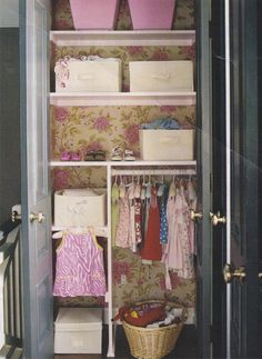 wallpapered closet. So cute for a little girl's or baby girl closet in her bedroom. #matildajaneclothing #MJCdreamcloset