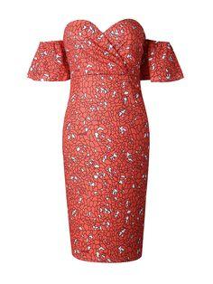 Orange Red Off Shoulder Sweetheart Print Wrap Bodycon Dress