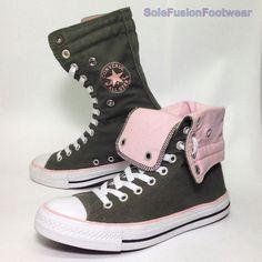 9b02e40b58c4 Converse Womens All Star Trainers Green pink Sz 6 X Hi Top Knee BOOTS US 8  EU 39 for sale online
