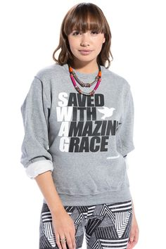 S.W.A.G Saved With Amazing Grace Heather Sweatshirt - JCLU Forever - 1