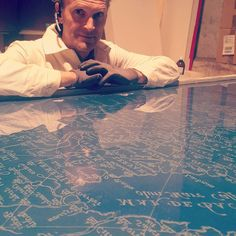 Positive vibes from my father's studio as the #acid-etched glass plate of the 1500s map of #arabia that was exhibited in #dubai is now ready to embark on a jouney to its new owner. #glass #glassetching #acidetching