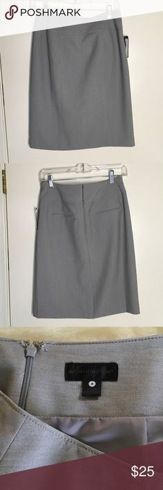 Gray skirt Gray skirt; Worthington, poly fabric, 22 inches long with a 6 inch kickpleat Worthington Skirts