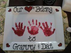 Valentine handprint platter