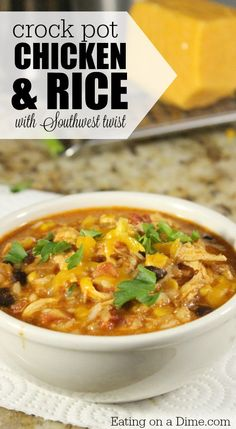 Southwest Crock pot Chicken and Rice - Eating on a Dime