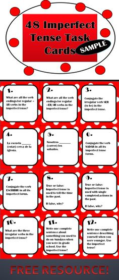 These 12 FREE imperfect tense task cards can be used as a mini-review with your students. Include a variety of tasks and are a sample of my 48 card sets.