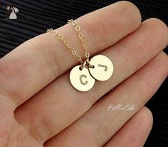 TWO Monograms Disc Necklace, Gold Initial Necklace, Customized Family Necklace / Couple Jewelry, Best Friend, Delicate Mothers Necklace - Wedding nacklaces (*Amazon Partner-Link)