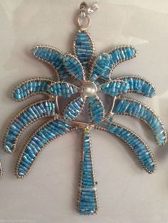Palm Tree Ornaments Blue Beaded Set of 3 NIB Beaches Oceans Islands Christmas