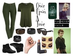 """Peter Pan OUAT outfit"" by lokifangirl ❤ liked on Polyvore featuring Once Upon a Time, Style & Co., Avenue, COSTUME NATIONAL, Vince, Frye, Replay, Lipstick Queen, Disney and RetroSuperFuture"