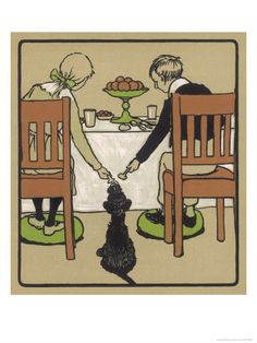 Little Black Dog Sits Patiently While a Boy and a Girl Hand Him Nice Things to Eat from the Table by Cecil Aldin