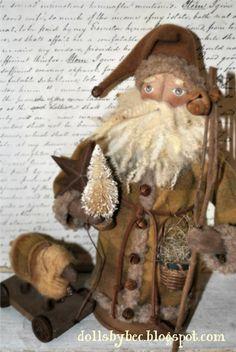 Primitive, Folk Art, OOAK Woodland Santa Doll... Ol' Woodland Claus with Pull Toy Sheep..  via Etsy.