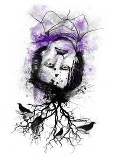 Edgar Allan Poe by Guillermo Prestegui, via Behance
