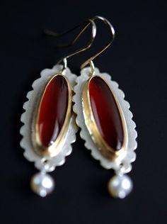 Carnelian and Pearl earrings by Julie Kujawa