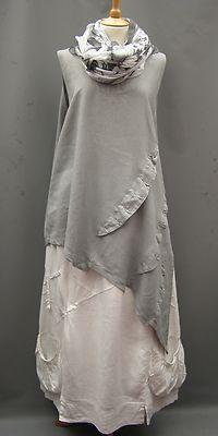German Silver Grey ~ linen Dramatic Asymmetrical Tunic~22-26