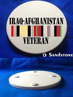 This beautiful Iraq & Afghanistan Veteran Sandstone Coaster is a must-have. Full color design custom baked into the stone for long lasting color; felt pads to prevent table scratching; strong, durable & absorbent for all types of drink ware.