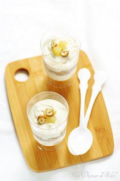 Verrines ricotta, poires et noisettes façon torta ricotta et pere. Un dessert très simple, facile et gourmand.